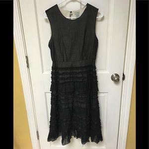 Anthropologie Odille black ruffle dress women 6
